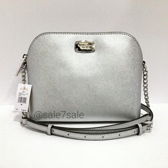 2d7659601fac MK Cindy Purse Silver Saffiano leather